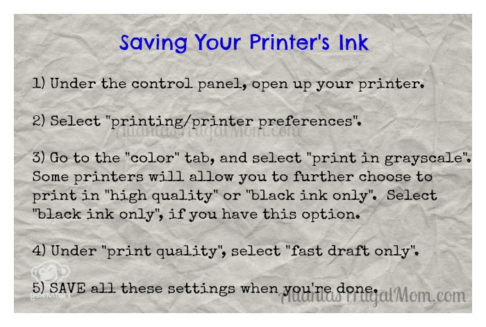 Saving Your Printer's Ink