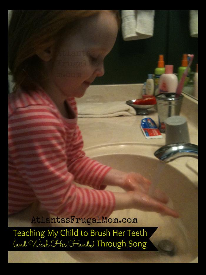 teaching my child to brush her teeth - washing hands