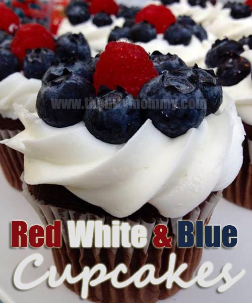 Two step Red White and Blue cupcakes| Great for kids
