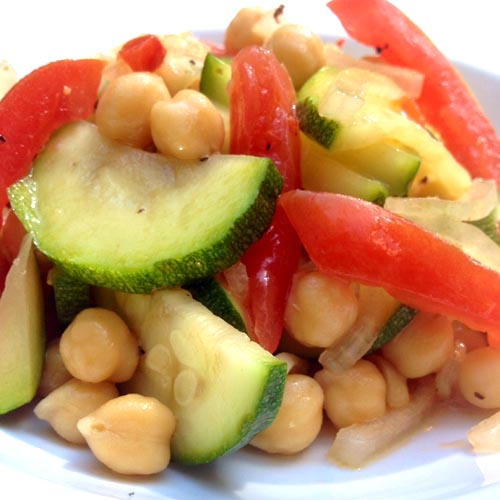 Marinated-zucchini and chickpea salad
