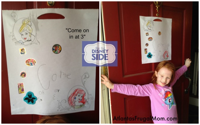 My daughter was all-too-eager to make a sign for the front door!