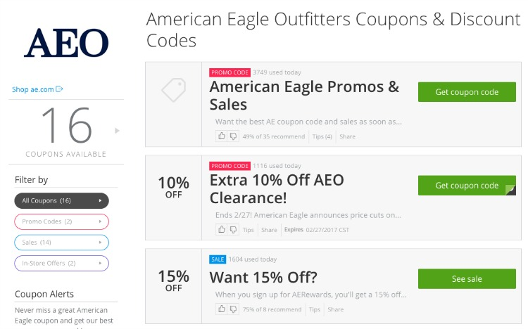 Groupon Coupons - American Eagle codes